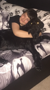 Tana having a cuddle with Oliver